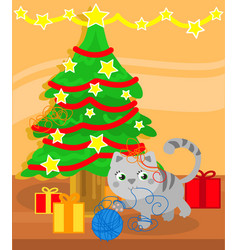 christmas tree and cute kitty cat vector image vector image