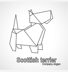outline origami dog terrier vector image vector image