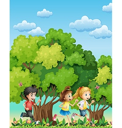 Three kids running outdoor vector image