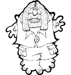 An old hippy waving BW vector image