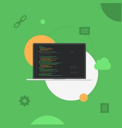 laptop programming development system flat vector image
