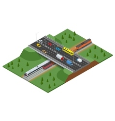 Railway road and track with the traffic modern vector