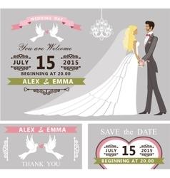 Wedding invitation set cartoon bride and groom vector