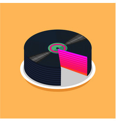 birthday cake and vinyl disc collection vintage vector image