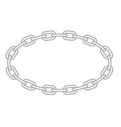chain oval frame - metallic links round border vector image