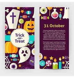 Flyer Template of Flat Design Halloween Trick or vector image