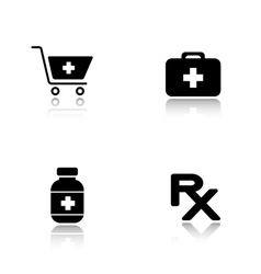 Pharmacy website drop shadow icons set vector image
