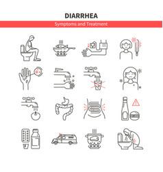 set diarrhea monoline icons vector image