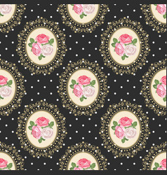 Shabby chic rose seamless pattern on black polka vector