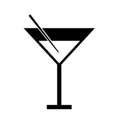 black icon cocktail cartoon vector image