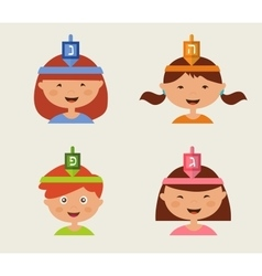 children celebrating Hanukkah vector image vector image