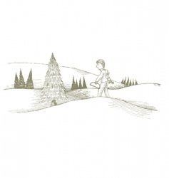 cutting Christmas tree vector image vector image