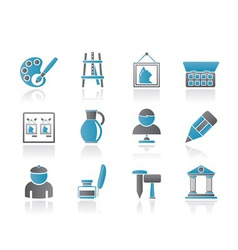 fine art objects icons vector image