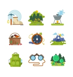 Flat camping outdoor icons vector image vector image