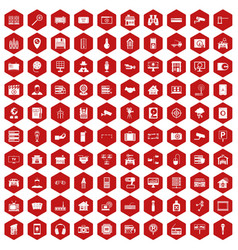 100 camera icons hexagon red vector