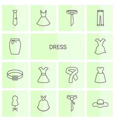 14 dress icons vector