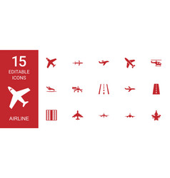 15 airline icons vector image