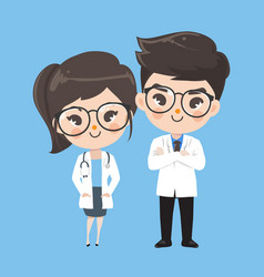 Action character doctor cute smile vector