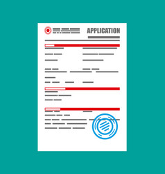 application form paper blank with seal vector image vector image