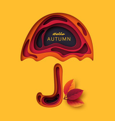 autumn 3d paper cut umbrella with leaves abstract vector image