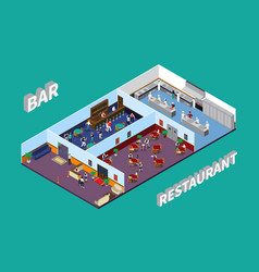 Bar restaurant isometric design vector