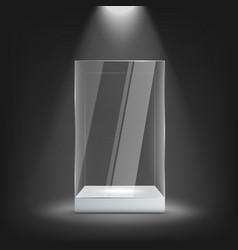 Big glass display case on white pedestal mockup vector