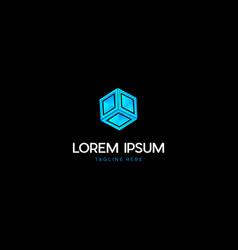 Box cube technology digital media logo design vector