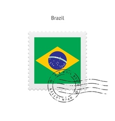 Brazil Flag Postage Stamp vector image