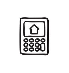 Calculator with house on display sketch icon vector