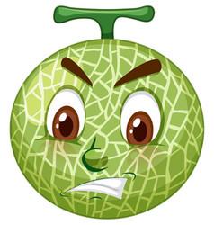 Cantaloupe melon cartoon character with facial vector