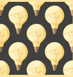 cartoon lamps old light bulb seamless pattern vector image