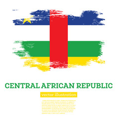 central african republic flag with brush strokes vector image