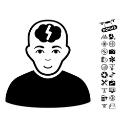 Clever Boy Icon With Air Drone Tools Bonus vector