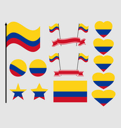 colombia flag set collection of symbols flag vector image