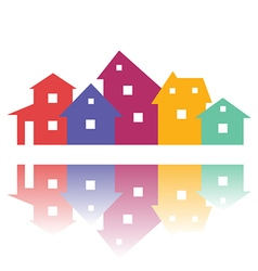 Color residential buildings logo vector