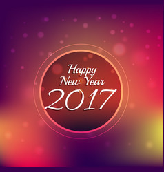 Colorful bokeh background with 2017 new year text vector