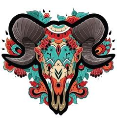 Colorful ram skull vector