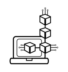 computer and nodes symbol black and white vector image
