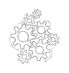 cooperation concept hand drawn cog and gear sketch vector image
