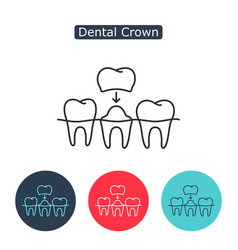 Dental crown tooth treatment sign vector