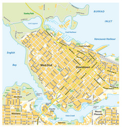 Detailed street map downtown vancouver canada vector