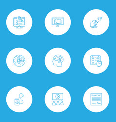 education icons line style set with webinar vector image