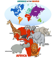 Educational cartoon african animals vector