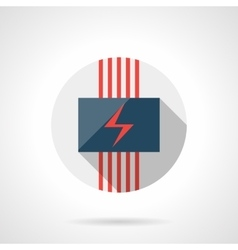 Electrical heating round flat design icon vector