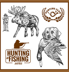 elk hunting hunting logo hunting dog with a wild vector image