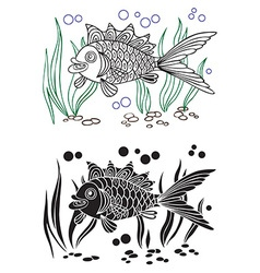 fish and seaweed decorative vector image