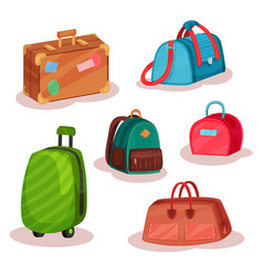 flat set of different bags women handbags vector image