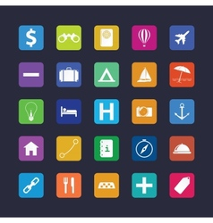 Flat travel icon set vector