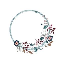 floral frame cute flowers arranged un a shape vector image