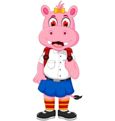 Funny female hippo cartoon going to school vector